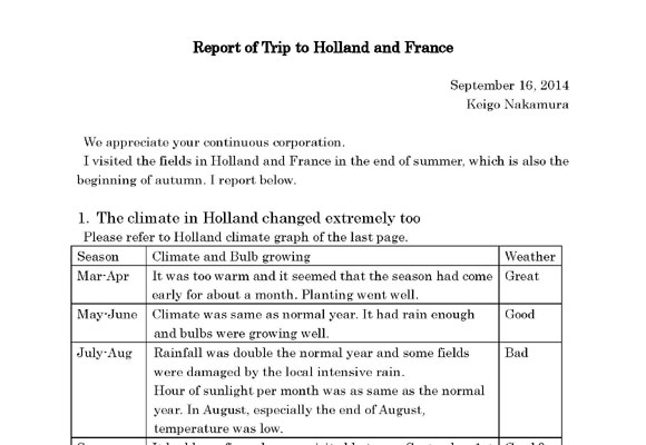 Report of Trip to NL & FR(Sep 16, 2014)