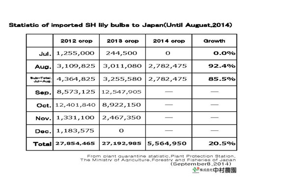 Statistic of imported SH lily bulbs to Japan(Until Aug,2014) (Sep 8, 2014)