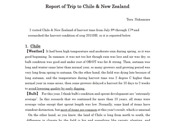 Report of Trip to Chile & New Zealand(Jul 20, 2015)