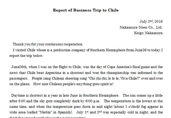 Report of Business Trip to Chile(July2nd, 2016)