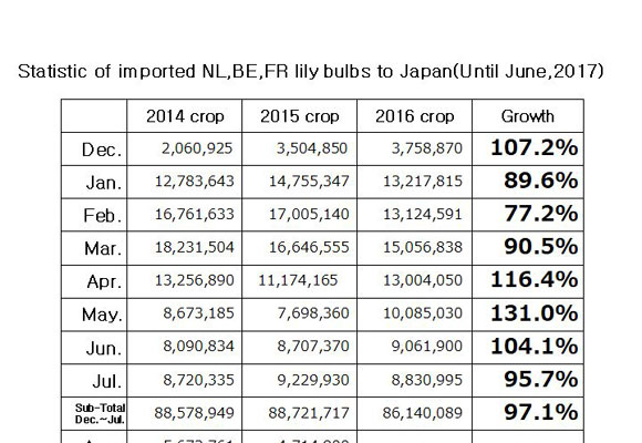 Statistic of imported NL,BE,FR lily bulbs to Japan(Until Jul, 2017) (Aug 17, 2017)