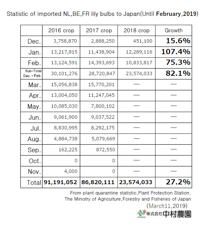 Statistic of imported NL,BE,FR lily bulbs to Japan(Until February,2019)
