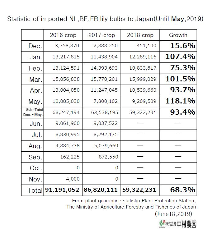 Statistic of imported NL,BE,FR lily bulbs to Japan(Until May,2019)