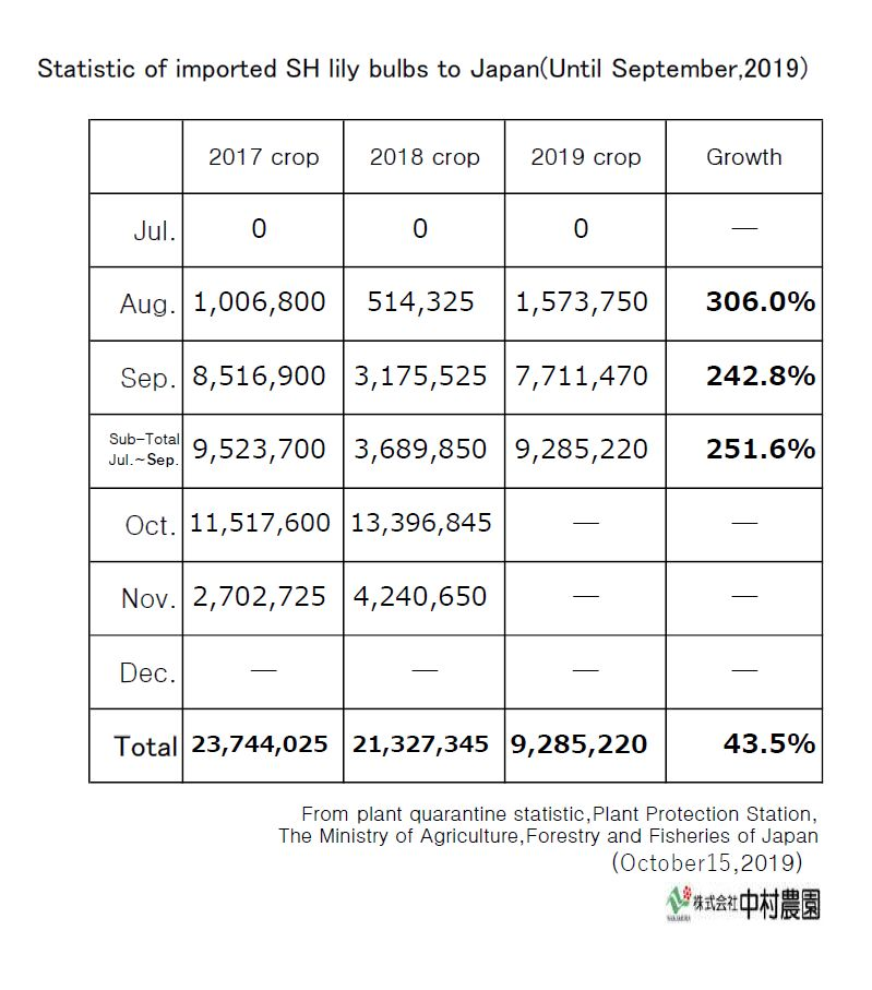 Statistic of imported SH lily bulbs to Japan(Until September,2019)