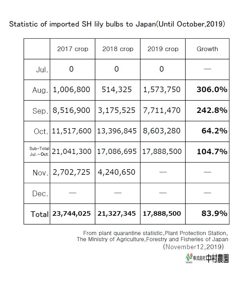 Statistic of imported SH lily bulbs to Japan(Until October,2019)
