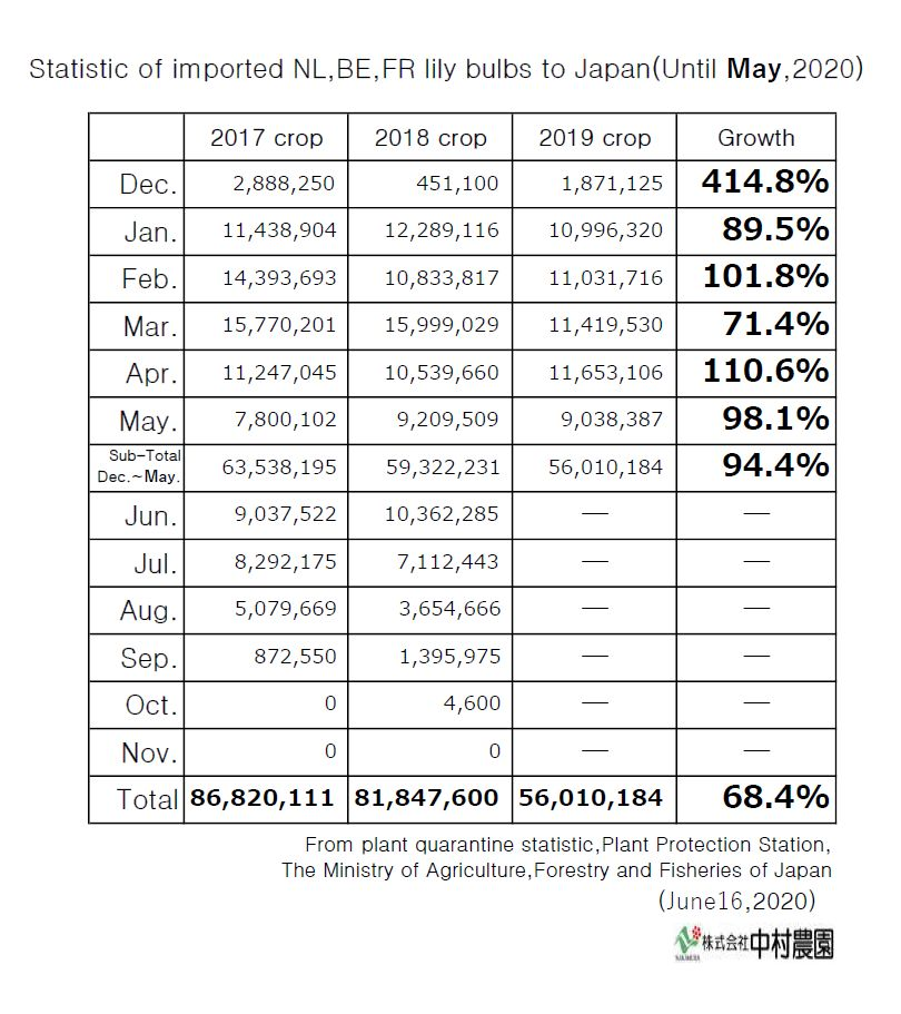 Statistic of imported NL,BE,FR lily bulbs to Japan(Until May,2020)