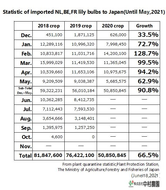 Statistic of imported NL,BE,FR lily bulbs to Japan(Until May,2021)