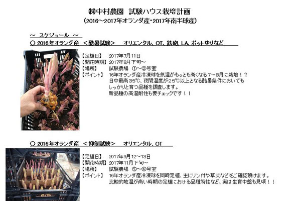 試験農場 栽培スケジュール(2017年7月~)(2017/8/17)