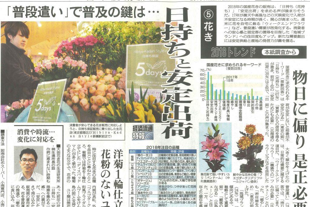 2018トレンド 花き 日本農業新聞(2018/3/5)